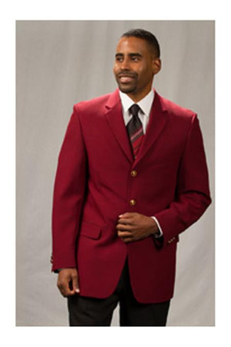 Mens Pacelli Jackson Classic Three buttons Notch Lapel Blazer Jacket Burgundy ~ Wine ~ Maroon Color