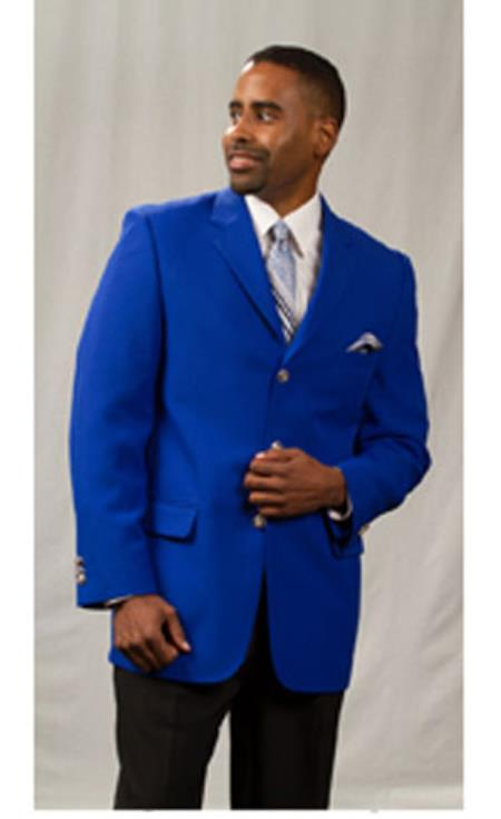 Mens Pacelli Jackson Three buttons Notch Lapel Classic Royal Blue Blazer Jacket