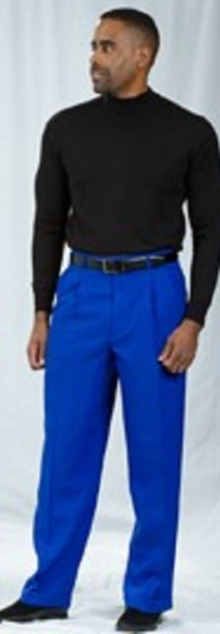 Pacelli Royal Blue Pleated Baggy Fit Dress Pants unhemmed unfinished bottom Men's Wide Leg Trousers