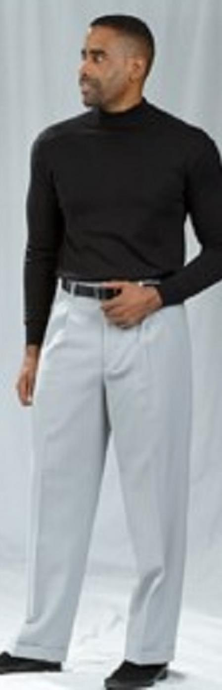 Pacelli Crystal Silver Pleated Baggy Fit Dress Pants unhemmed unfinished bottom Men's Wide Leg Trousers - Cheap Priced Dress Slacks For Men On Sale