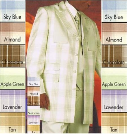 SKU#Window Pane Plaid Vest Zoot Suit in: Sky Blue/Almond/Chocolate/Apple Green/Lavender/Tan