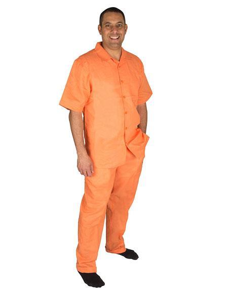 Mens Papaya ~ Orange ~ Peach  Button Closure Short Sleeve 100% Linen 2 Piece Pleated Pant Shirt