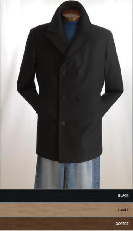 COAT08 Pea Coat Wool Blend Double Breasted Broad Lapels Side Pocket in 3 Color