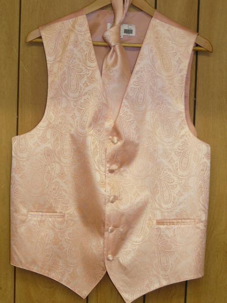 PEACH DRESS TUXEDO WEDDING Vest ~ Waistcoat ~ Waist coat & TIE SET Buy 10 of same color Tie For $25 Each