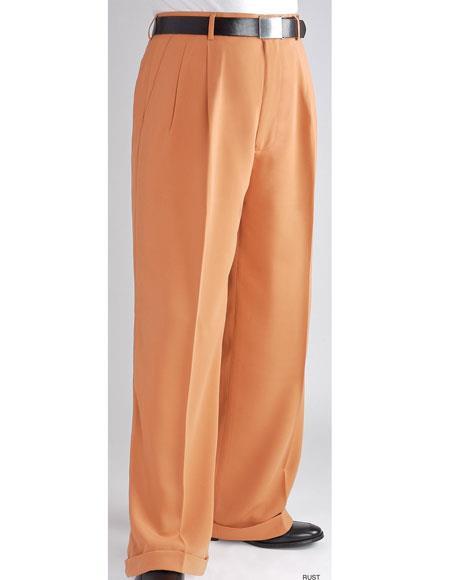 Daniel Men's Stylish Wide Leg Pants Peach ~ Light Orangish ~ Light Rust Men's Wide Leg Trousers - Cheap Priced Dress Slacks For Men On Sale