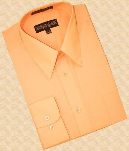 SKU#RT678 Peach Cotton Blend Dress Shirt With Convertible Cuffs $39