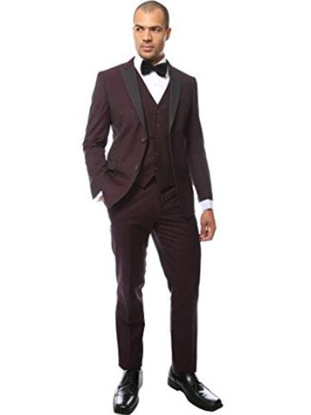 Mens Black and Burgundy ~ Wine ~ Maroon Suit  Peak Lapel Two Toned Tuxedo Vested Suit