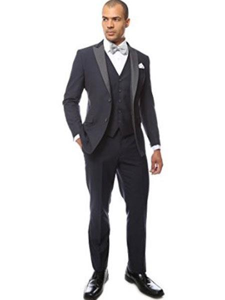 Men's Peak Lapel Two Toned Tuxedo Vested Suit Dark Navy Blue Suit For Men