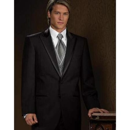 SKU#VP2838 Peak Lapel (Parisian) by Fitted Slim Fitc Cut - Black Tone on Tone Shadow Stripe $279
