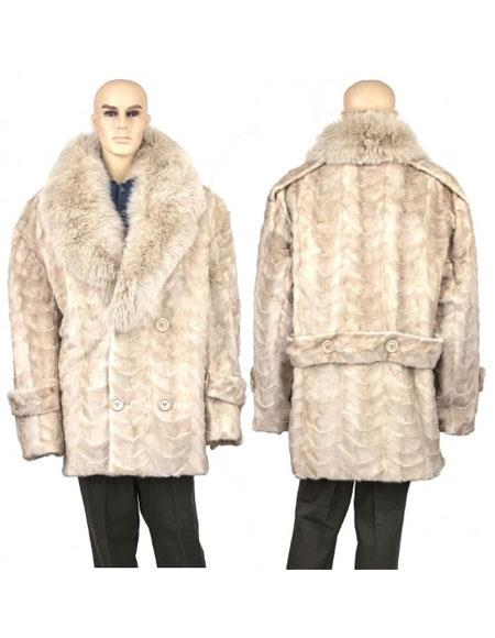 Buy GD881 Men's Fur Pearl Genuine Mink Paws Pea Coat
