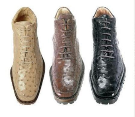 """SKU#Belvedere \""""Pero\"""" ankle high Lace Up boots are made in 100% ostrich $365"""