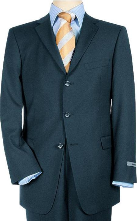 SKU#MNT34 Pick Stitch Jacket 3 Btn Navy Blue Super 140