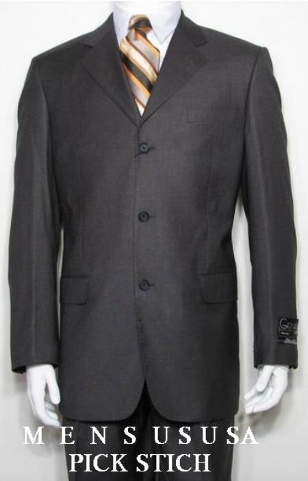 SKU#ZP3 Pick Stitch Laple Charcoal Gray 3 Btn Mens 100% Wool Developed by NASA $295