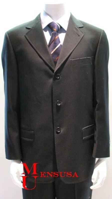 SKU#PM3 Black Pick Stitch Laple Dual Side Vent Super 140s Wool Developed by NASA $175