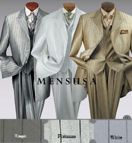 "SKU# EAP969 T64SB 3 Piece Suit, 4 Buttons, 34"" Length, Peak Labels, Square Bottom, Shinny Stripe $139"