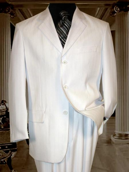 SKU# JRT517 MU3TT-10 White Ton on Ton Pinstripe Shadow Stripe 3 Button $139