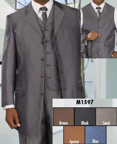 SKU#WD335  Three Piece Single Breasted Black Suit $199