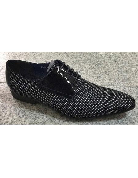 Men's  Black / White Pin Dot Pattern Genuine Soft Genuine leather Lace Up Zota Unique Zota Men's Dress Shoe