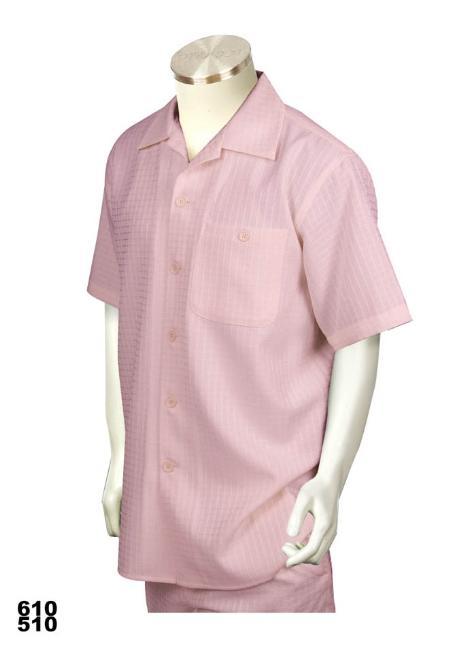 SKU#PK9922 Casual Walking Suit Set (Shirt & Pants Included ) Pink