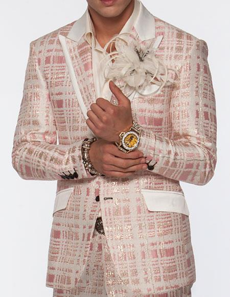 1960s Men's Clothing, 70s Men's Fashion Angelino Brand Mens Single Breasted Sportcoat Plaid Pattern Peak Lapel Fashionable Maro Pink Suit Jacket  Pants Two toned Blazer $375.00 AT vintagedancer.com