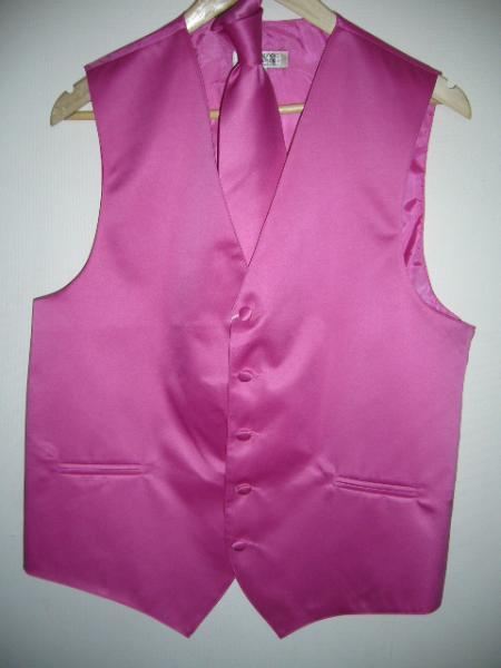 HOT Pink Tuxedo ( FUESHA ) DRESS TUXEDO WEDDING Vest ~ Waistcoat ~ Waist coat & TIE SET Buy 10 of same color Tie For $25 Each
