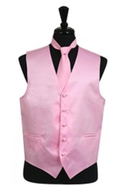 Dress Tuxedo Wedding Vest Tie Set Pink