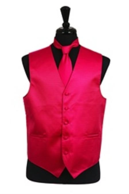 SKU#VS2026 Horizontal Rib Pattern Vest Tie Set Hot Pink