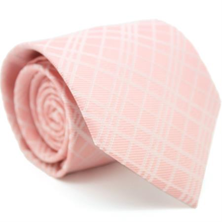 Slim Peach Pink Gentlemans Necktie with Matching Handkerchief - Tie Set