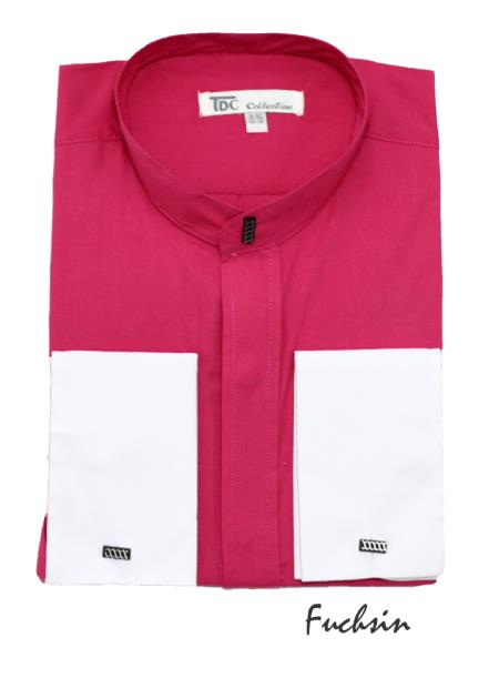 Mens Fashion Hidden Button French Cuff Mandarin Collarless Dress Shirt Fuchsia ~ fuschia~ hot Preacher Round Style Pink