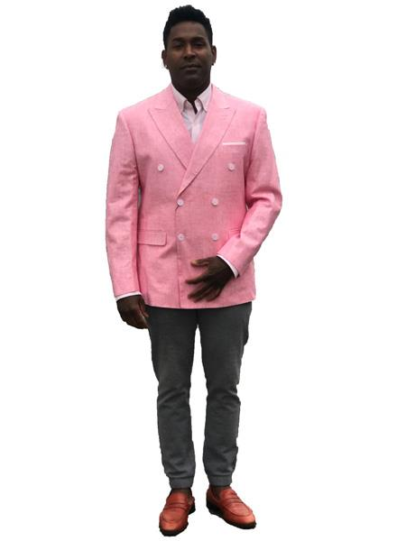 Mens Double Breasted Linen Summer Sport Coat ~ Blazer in Pink