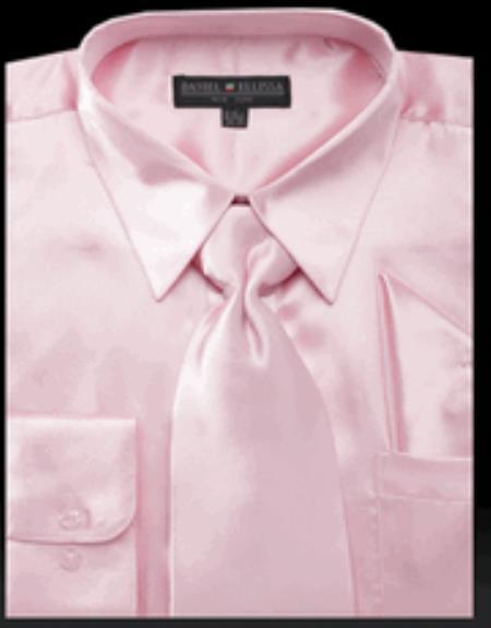 Mens Pink Shiny Satin Tie Set Mens Dress Shirt