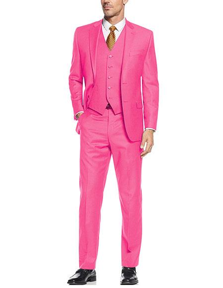 Men's 2 Button 3 Piece Vested Modern Fit Flat Front Pants Suit in Fuschia