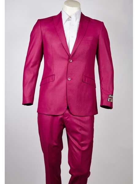 Buy SM965 Men's Single Breasted Pink Peak Lapel Two Button Slim Fit Suit