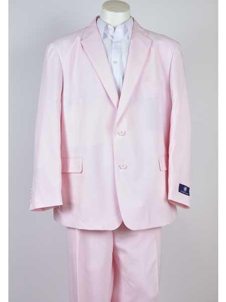 Pink 2 Button Mens Notch Lapel Classic Fit Single Breasted Suit