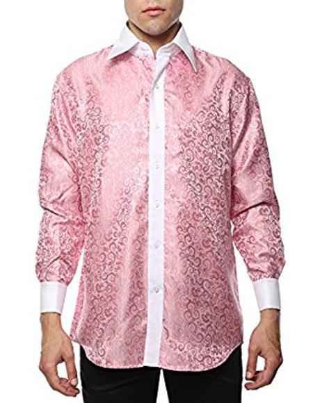Pink White Shiny Satin Floral Spread Collar Dress Shirt