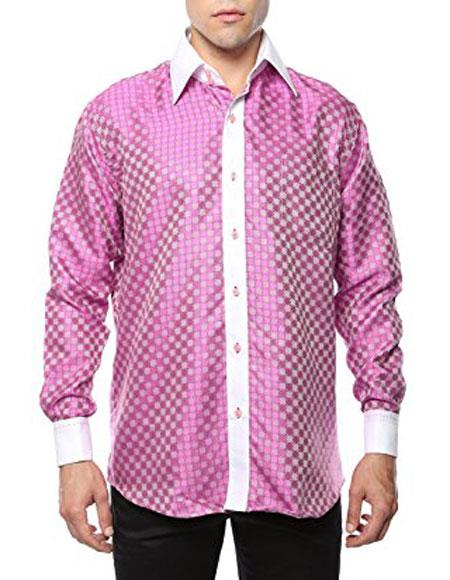 Shiny Satin Floral Spread Collar Paisley Dress Club Clubbing Clubwear Shirts Flashy Stage Colored Two Toned  Woven Casual Geometric Pink-White Men's Dress Shirt