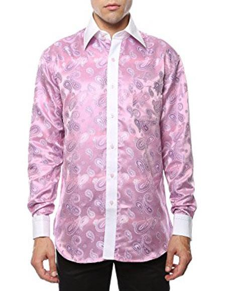 Pink-White Shiny Satin Floral Spread Collar Paisley Dress Club Clubbing Clubwear Shirts Flashy Stage Colored Two Toned  Woven Casual Mens Dress Shirt