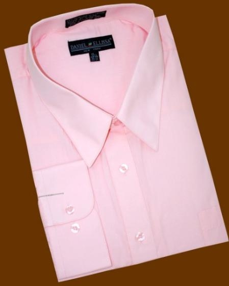 SKU#LP395 Pink Cotton Blend Dress Shirt With Convertible Cuffs $39