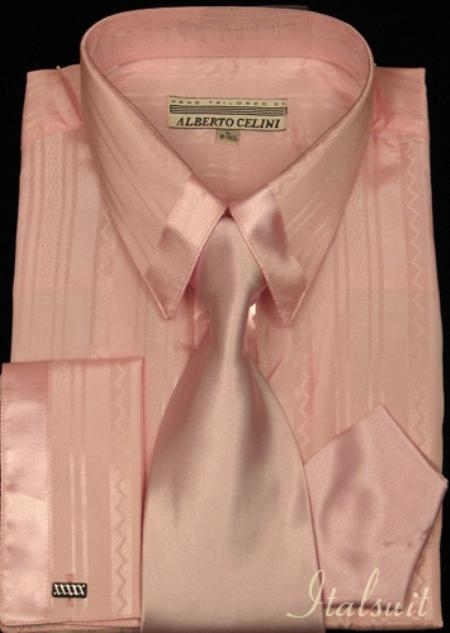 SKU#AP347 Pink Satin Shirt Tie and Hankie Set $59