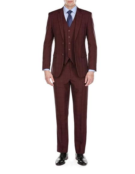 Mens Plaid checkered check pattern Burgundy Suit 2 Button Burgundy ~ Wine ~ Maroon Suit  Modern-Fit Suits