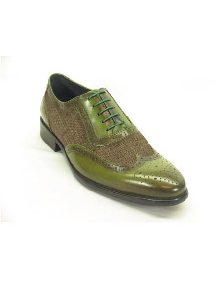 Mens Plaid Leather Wingtip Oxford Olive Fashionable Shoes