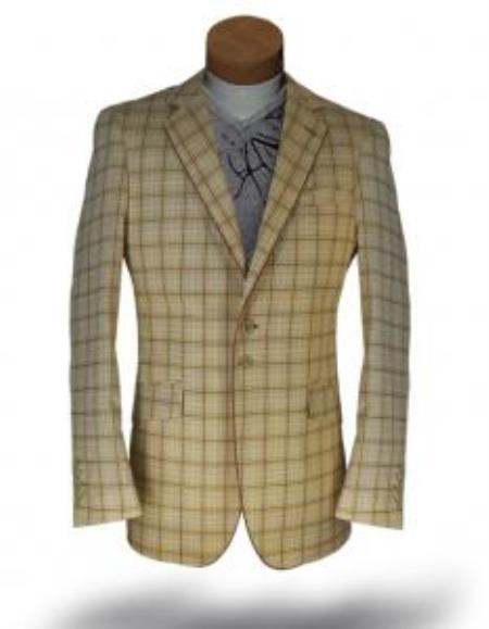 Windowpane Blazer Jacket Gold