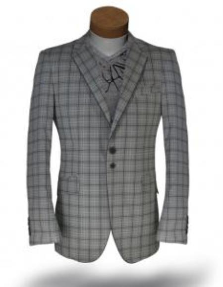 Windowpane Blazer Jacket Gray-