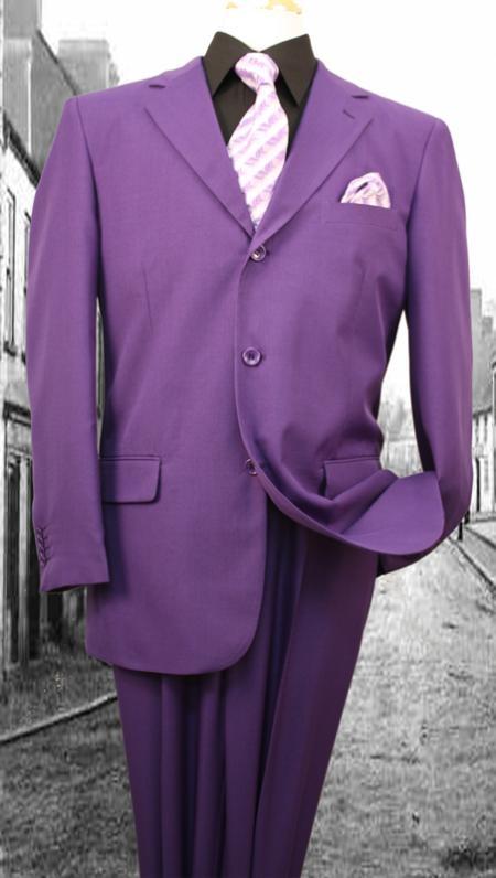 SKU#KZ10290 Super 120S G-Purple Solid Color Suit