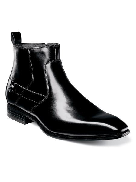 Buy SM3681 Stacy Adams Men's Black Plain Toe Slip Style Non Leather Sole Boots