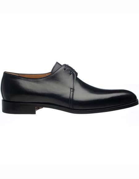 Ferrini Mens Black Italian Leather Sole Plain Toe French Calfskin Derby Shoes