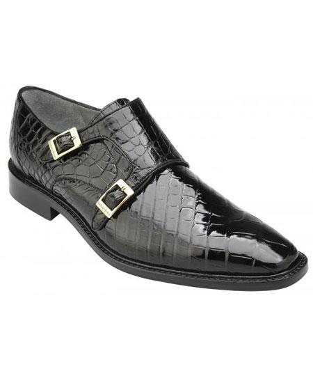 Mens Double Monk Strap Plain Toe Genuine World Best Alligator ~ Gator Skin Black Stylish Dress Loafer Shoes