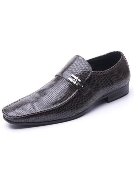 Men's Plain Toe Brown Embossed Soft Genuine leather Upper Zota Men's Unique Dress Shoes Unique Zota Men's Dress Shoe