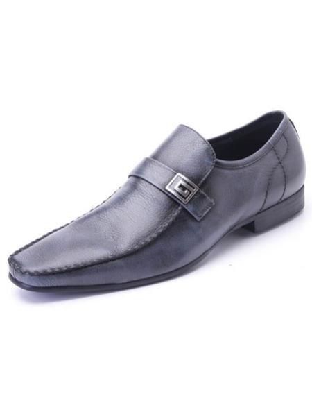 Mens slip-on style plain toe Soft Genuine leather navy Zota Mens Unique Dress Shoes Unique Zota Mens Dress Shoe