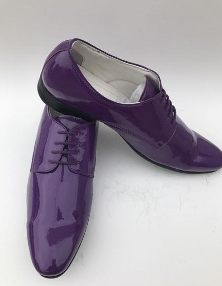 Mens Plain Toe Lace Up Style purple Shiny Tuxedo formal Dress Shoe For Men Perfect for Wedding